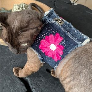 Dog in a closet handmade denim beaded harness vest